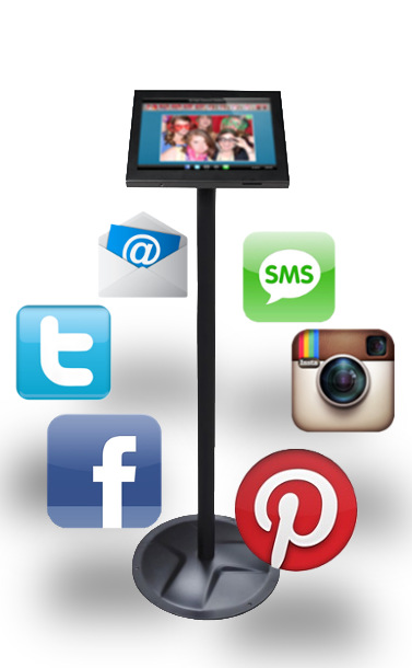 Kiosk for sharing photo booth pictures on Facebook, Twitter, Pinterest, and by Email.