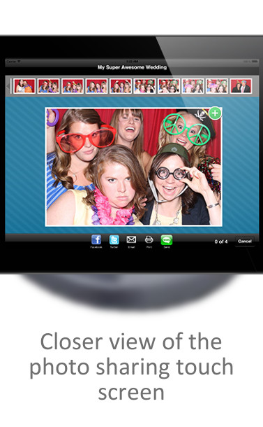 Close up view of sharing photo booth pictures on social media app
