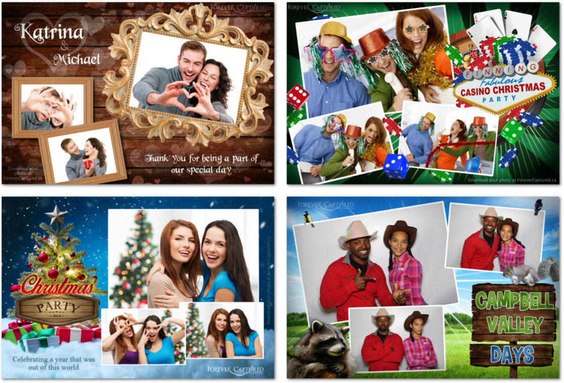 Postcard style photo booth prints that are custom designed for our clients.