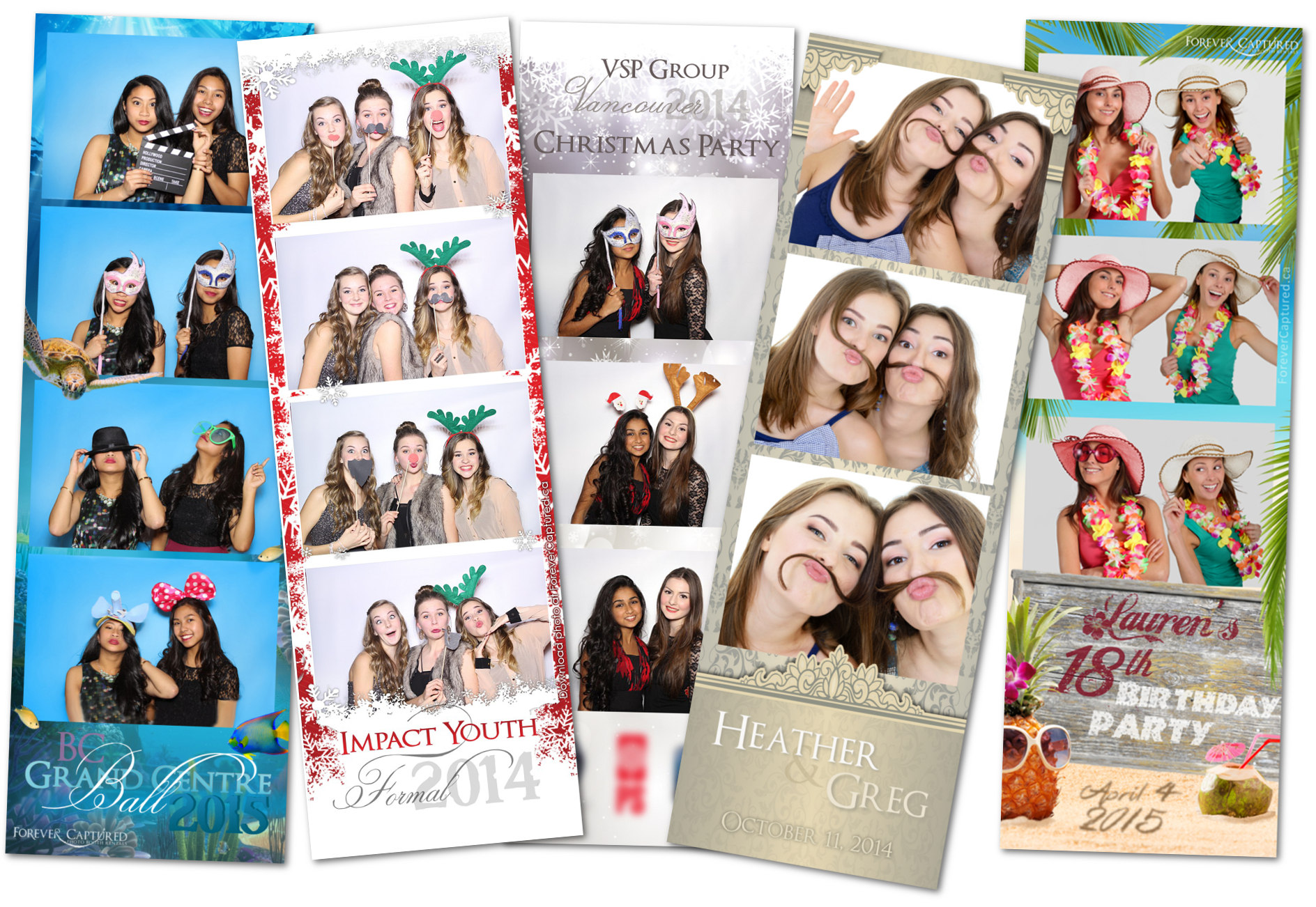 Sample photo layout prints from events in Greater Vancouver.