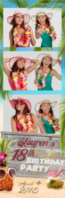 Hawaiian theme party photo strip sample.