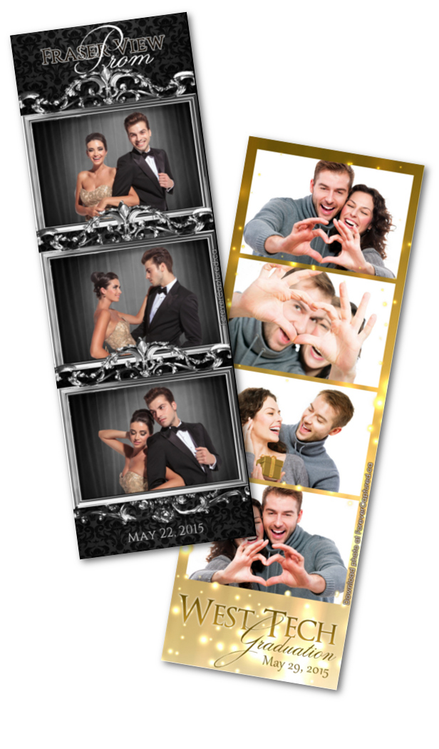 Graduation or prom party sample photo booth strips.