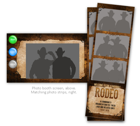 Cowboy western theme photo booth strips & sample screen.