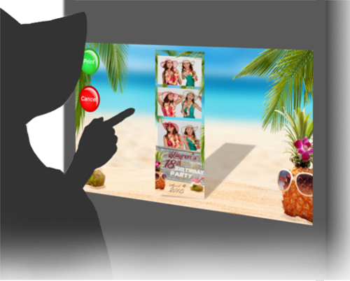 Interacting with a photo booth screen with a Hawaiian party theme.