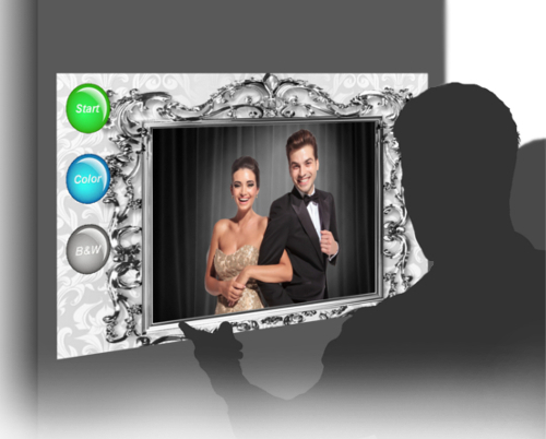 Looking at a wedding photo booth screen in Richmond, BC.