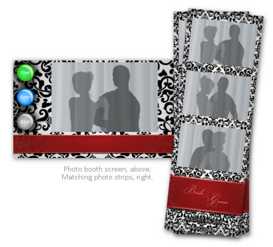 Damask black, white, & red photo booth themed rental.