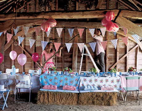 Country party picnic idea in a farmhouse.