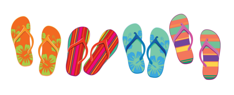 Hawaiian Luau & Tiki Party inspired beach flip flops