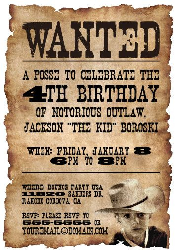 Western cowboy birthday party invitation on a wanted poster.