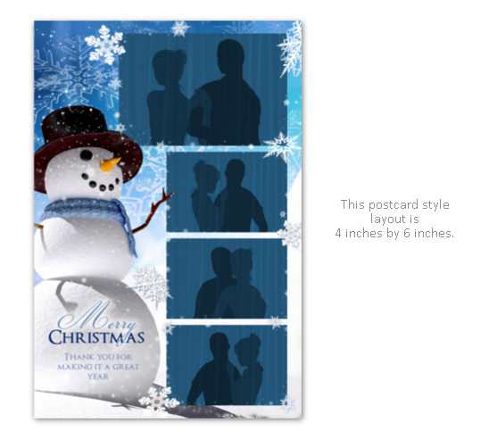 Christmas party photo booth layout with snowman
