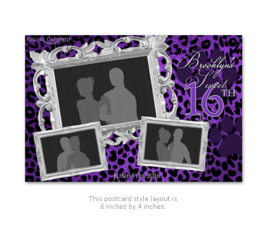 Elegant, fun, sweet 16 birthday party leopard print photo booth print layout.
