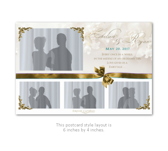 Beautiful, elegant wedding photo booth layout in white and gold with a bow.