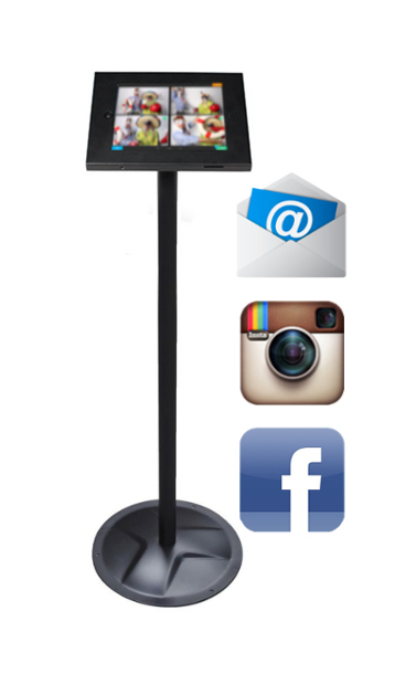 Kiosk for sharing photo booth pictures on Facebook, Instagram, and by Email.