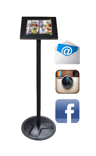 Photo sharing kiosk to share photo booth pictures on Facebook, Instagram, and by email.