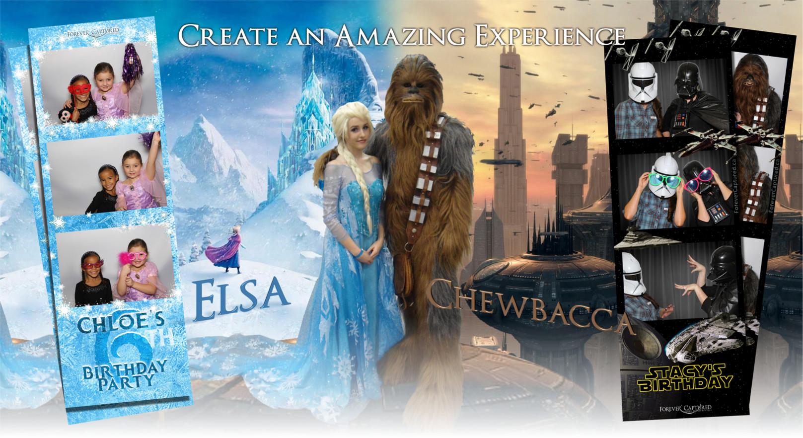 Elsa, Chewbacca, and other photo booth characters.