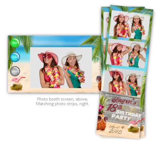 Hawaiian party photo booth theme package.