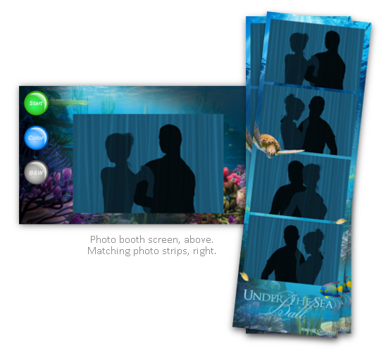 Under the sea event photo booth strips & screen theme package.