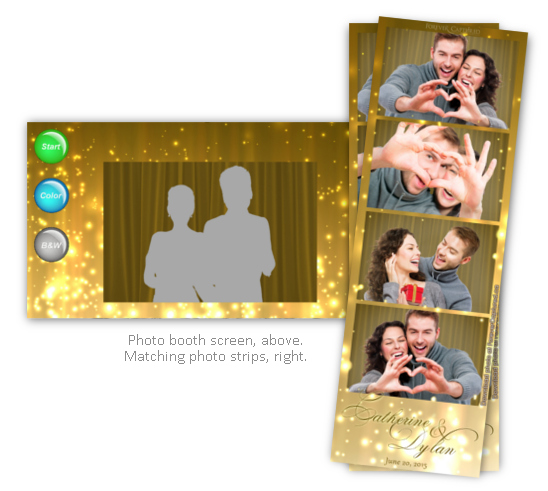 Wedding champaign photo strip with screen shot.