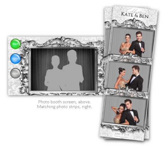 Classy, chic wedding photo booth strips and screen shot.