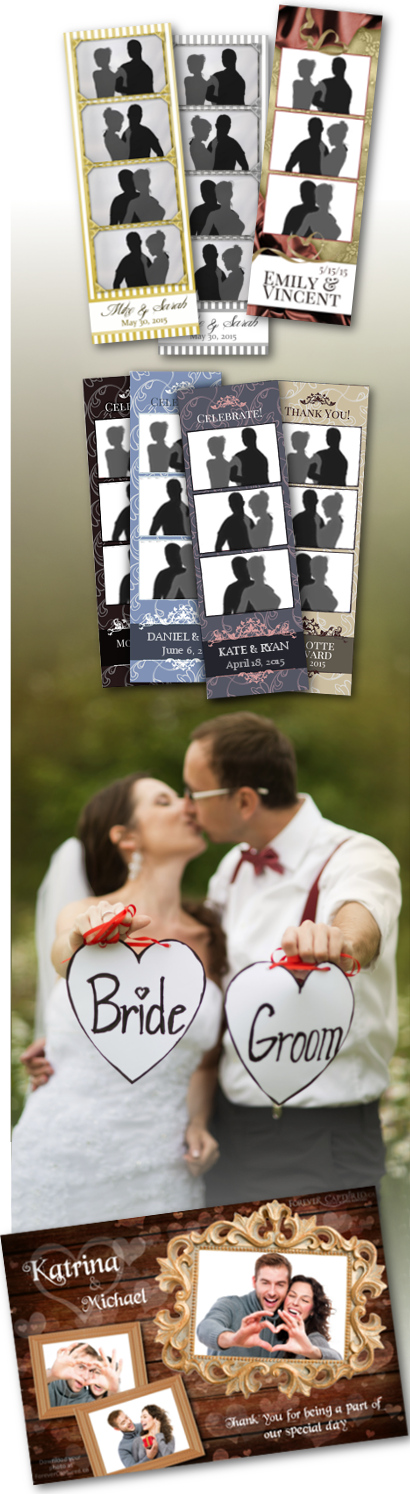 Rent a wedding photo booth in Greater Vancouver with these great photo strip layouts.