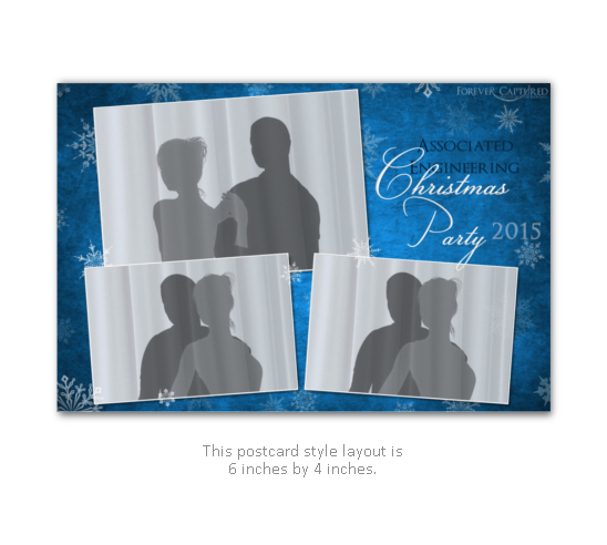 Blue company christmas party photo booth print layout with snowflakes.