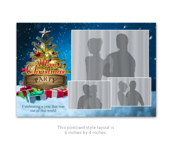 Christmas event or party photobooth print layout with tree and presents.