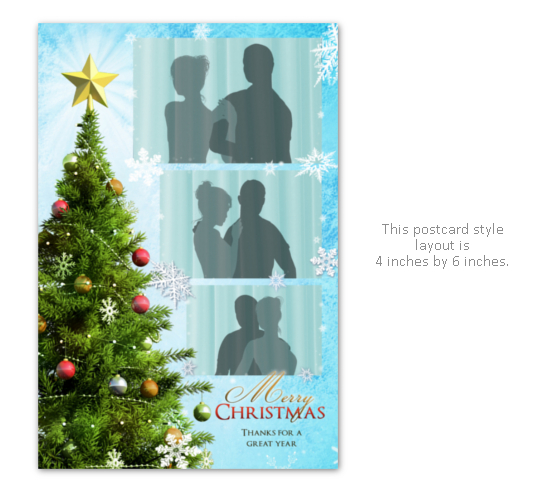 Christmas party photo booth layout with tree, star, snowflakes and ornaments