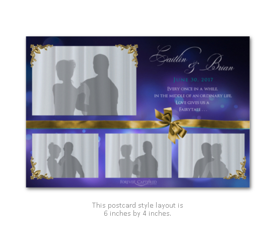 Wedding photo booth layout in purple and gold with bow.