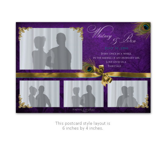 Elegant wedding photo booth layout in purple, gold, and peacock feathers with a bow.