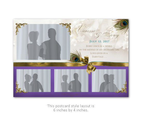 Peacock feather wedding photo booth layout in white, purple, and gold with a bow.