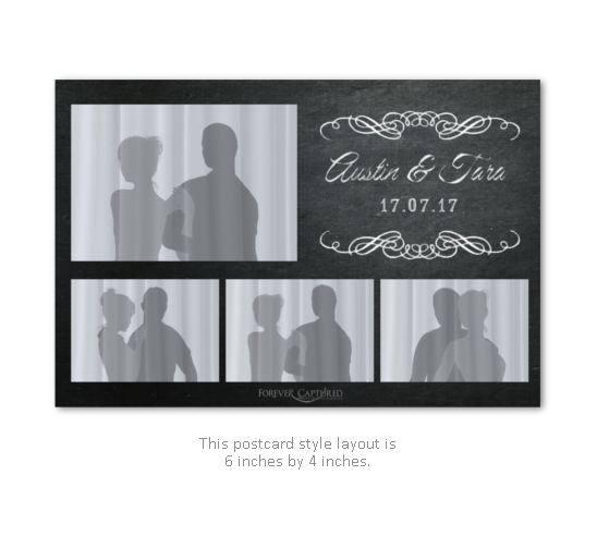 Classy chalk board wedding photo booth layout.