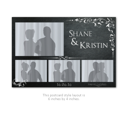 Vintage chalkboard wedding photo booth postcard strip layout.