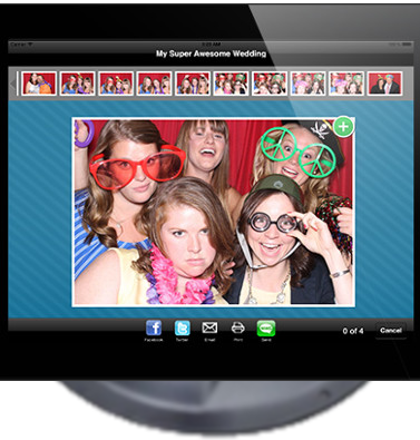 Close-up of the photo sharing kiosk screen that allow guests to share their photo booth pictures on social media.
