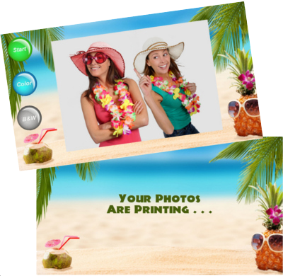 Photo booth screen shot examples from a Hawaiian themed party.