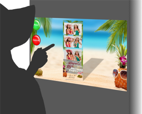 An interactive, fun photo booth rental experience with a beach background.